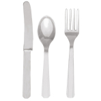 Cutlery Silver Plastic (8 Knives, 8 Spoons, 8 Forks) 17.1 cm / 14.7 cm / 15.7 cm