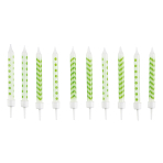 10 Spiral Candles Dots & Chevron Kiwi Height 6.3 cm