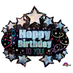 """SuperShape """"Brilliant Birthday Marquee"""" Foil Balloon, P50, packed, 78 x 71cm"""