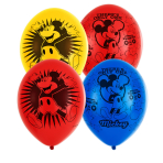6 Latex Balloons Mickey Mouse 4 Sided 27.5cm/11""