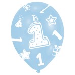 """6 Latex Balloons All Round Printed Age 1 Blue 27.5 cm / 11"""""""