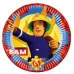 8 Plates Fireman Sam 2017 Round Paper 23 cm