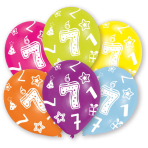 6 Latex Balloons All Round Printed Age 7 27.5 cm/11''