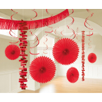 Decoration Kit Apple Red Paper / Foil 18 Parts 274 cm / 213 cm / 20.3 - 55.8 cm