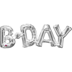 """SuperShape Phrase """"BDay"""" Silver Foil Balloon P35 Packaged 66x 22 cm"""