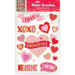 15 Window Decorations Valentine's Day Plastic / Foil 43.1 x 30.5 cm