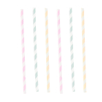 12 Drinking Straws Happy Birthday Pastel Paper 19.7 cm