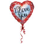 "Standard ""Sparkle Heart Love You"" Foil Balloon Heart, S55, packed, 43cm"
