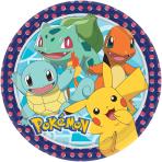 8 Plates Pokemon Paper Round 22.8 cm