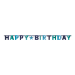 Letter Banner Birthday Accessories Blue Foil 240 cm