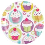 8 Plates Cupcake Paper Round 22.8 cm
