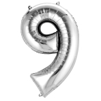 SuperShape Number 9 Silver Foil Balloon L34 Packaged 63cm x 86cm