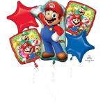 Bouquet Mario Bros 5 Foil Balloons P75 Packaged