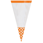 10 Cone Shaped Plastic Bags Polka Dot Orange Peel 8.8 x 27.2cm