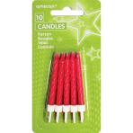 10 Spiral Candles Glitter Pink Height 6.3 cm