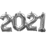 Phrase Block 2-0-2-1 Silver Foil Balloon G40 53cm x 22cm