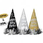 12 Cone Hats Happy New Year Metallic Black, Silver, Gold 22 cm