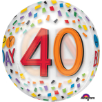 "Orbz ""Happy 40th Birthday Rainbow"" Foil Balloon Clear, G20, packed, 38 x 40cm"