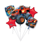 """Bouquet """"Blaze and the Monster Machines"""" 5 Foil Balloons P75 packed"""