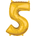 Mid Size Number 5 Gold Foil Balloon L26 Packaged 45cm x 66cm