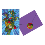 8 Invitations & Envelopes & Stickers Rise Of The TMNT Paper 10.7 x 15.8 cm