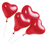 5 Latex Balloons Lovely Moments Standard Red with Sticks 20.3 cm / 8""