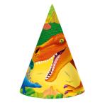 8 Party Cone Hats Prehistoric Party 17.7 cm