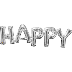 """SuperShape Phrase """"Happy """" Silver Foil Balloon P35 Packaged 76 x 25 cm"""
