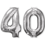 Mid Size Number Bunch 40 Silver Foil Balloon P56 Packaged