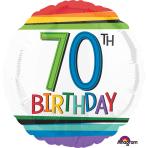 "Standard ""Rainbow Birthday 70"" Foil Balloon Round, S40, packed, 43cm"