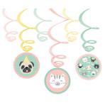 6 Swirl Decorations Hello Pets Foil / Paper 80 cm