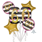 "Bouquet ""Pink & Gold Milestone 60"" Foil Balloon, P75, packed"