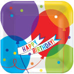18 Plates Brilliant Balloons Paper Squared 17.7 x 17.7 cm
