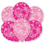 "6 Latex Balloons All Round Printed Birthday Girl 27.5 cm / 11"""