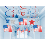 30 Swirl Decorations USA Foil / Paper 61 cm