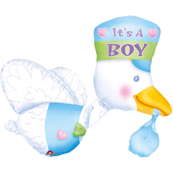 Multi Balloon It's a Boy StorkFoil Balloon P75 Packaged