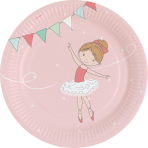 8 Plates Little Dancer Paper Round 22.8 cm