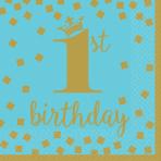 16 Napkins 1st Birthday Blue & Gold 33 cm