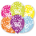6 Latex Balloons All Round Printed Age 80 27.5 cm/11''