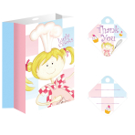 8 Paper Loot Bags with Ribbon and Thank You Tags Little Cooks 10 x 14 cm