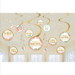 12 Swirl Decorations Boho Birthday Girl Foil / Paper 61 cm