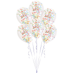 6 Latex Balloons Clear Confetti Filled assorted (2 g, 1 cm) 27.5 cm / 11""