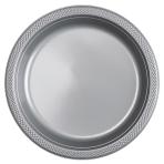 20 Plates Plastic Silver 22.8cm