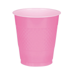 10 Cups Bright Pink Plastic 355 ml
