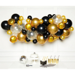 DIY Balloon Garland Black Gold 66 Balloons