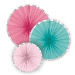 3 Fan Decorations Flamingo Paradise Paper 16 cm / 28 cm / 35 cm