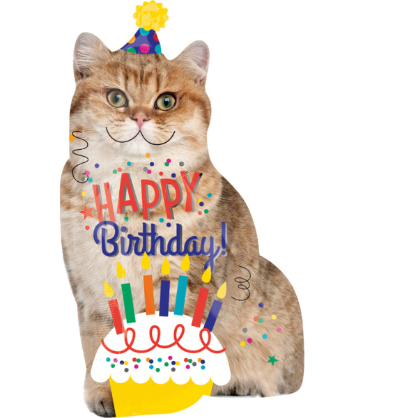 SuperShape Happy Birthday Cat Foil Balloon P35 Packed