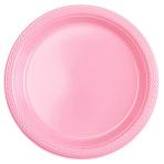 10 Plates New Pink Plastic Round 22.8 cm