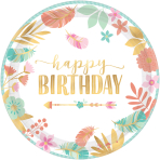 8 Plates Boho Birthday Girl Paper Round Metallic 26.7 cm
