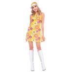 Adult Costume 60's Flower Powr Dress Size S